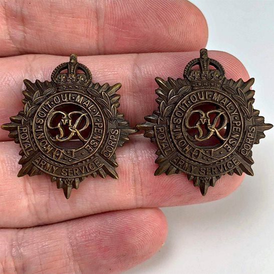 Royal Army Service Corps RASC WW2 Royal Army Service Corps RASC OFFICERS Bronze Collar Badge PAIR