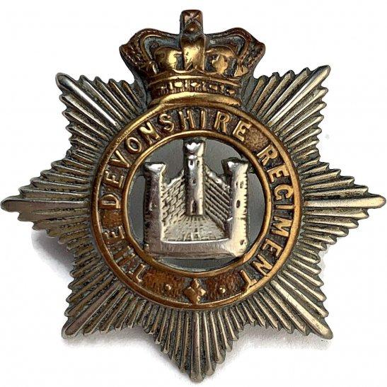 Devonshire Regiment VICTORIAN Devonshire Regiment Cap Badge - Queen Victoria Crown