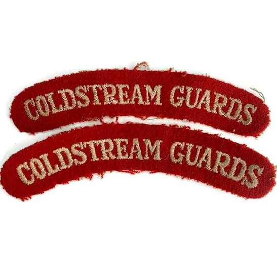 Coldstream Guards WW2 Coldstream Guards Regiments Cloth Shoulder Title Badge Flash PAIR