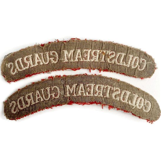 additional image for WW2 Coldstream Guards Regiments Cloth Shoulder Title Badge Flash PAIR