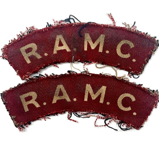 Royal Army Medical Corps RAMC WW2 Royal Army Medical Corps RAMC Cloth PRINTED Shoulder Title Badge Flash PAIR