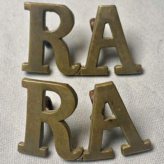 Royal Artillery Royal Artillery Regiment RA Shoulder Title PAIR