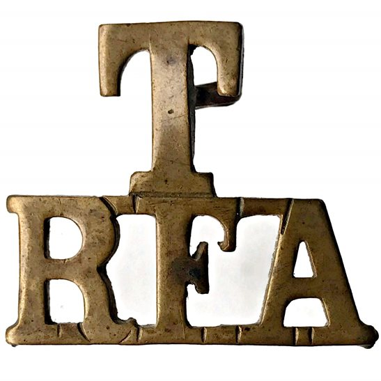 Royal Field Artillery RFA WW1 Territorial Royal Field Artillery T RFA Shoulder Title