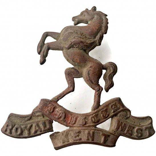 Royal West Kent UK Dug Detecting Find - Royal West Kent Regiment Relic Cap Badge