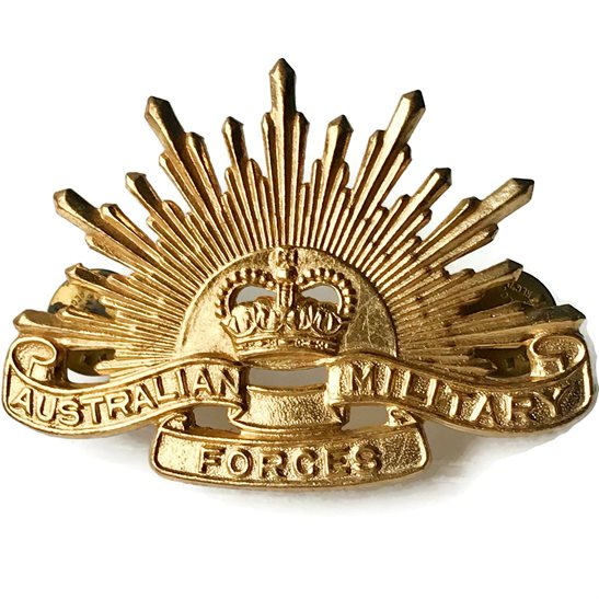 Royal Australian Military Forces Australia Infantry Cap Badge - Queens Crown