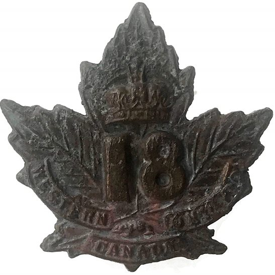 WW1 Canadian Army UK Dug Detecting Find - WW1 Canadian 18th Battalion Relic Collar Badge