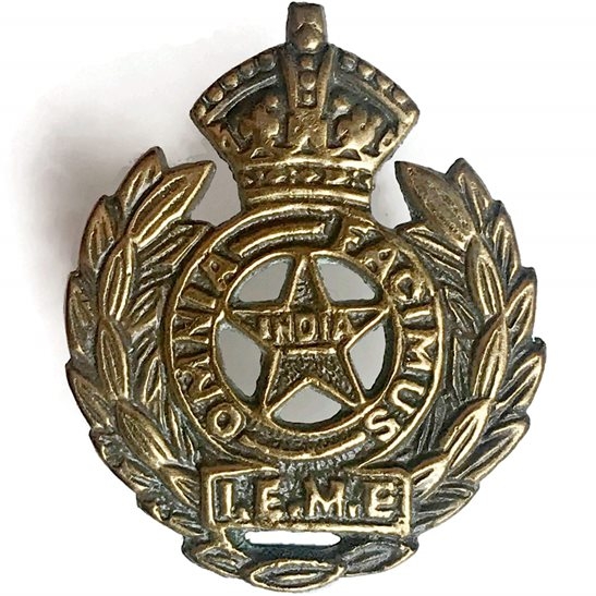 British Indian Army Indian Electrical & Mechanical Engineers IEME Collar Badge