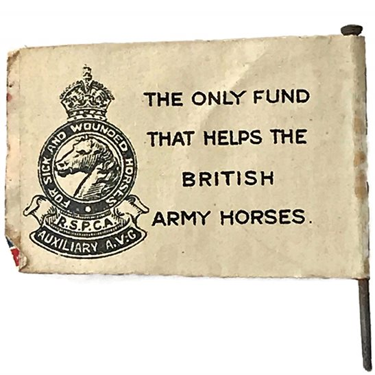 additional image for WW1 RSPCA Fund for Sick & Wounded War Horses Flag Day Pin Badge