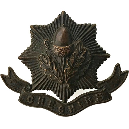 Cheshire Regiment WW1 Cheshire Regiment BRONZE Officers Cap Badge