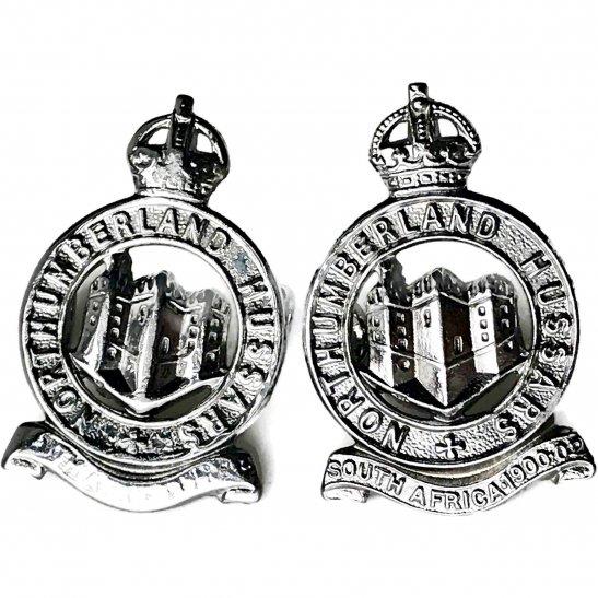 Northumberland Hussars Northumberland Hussars Regiment CHROME Collar Badge PAIR