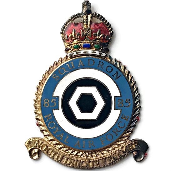 RAF Squadrons 85 Squadron SILVER Royal Air Force PLAQUE Badge RAF