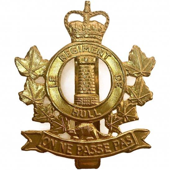 Canadian Le Regiment De Hull of Canada Cap Badge - Queens Crown