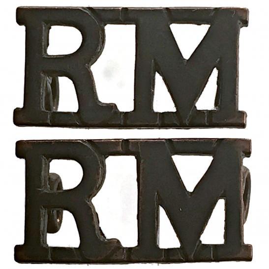 PAIR BRONZE RM Title Badge; Royal Marines Shoulder Title Badge Badge