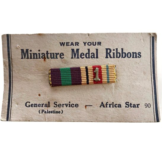 WW2 Miniature Medal Ribbon Bar - 1st Army African Campaign Africa Star - PIN BACK