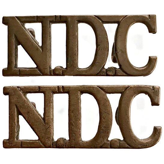 Territorial Battalions WW2 National Defence Company NDC Companies (of the Territorial Army) Shoulder Title Pair