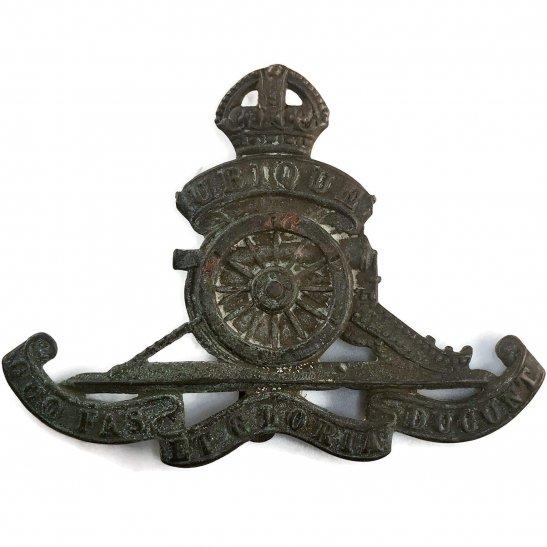 Royal Artillery UK Dug Detecting Find - WW1 Royal Artillery Regiment Relic Cap Badge