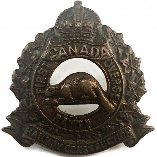 WW1 Canadian Army WW1 Canadian First Railway Construction Overseas Battalion Canada CEF Collar Badge