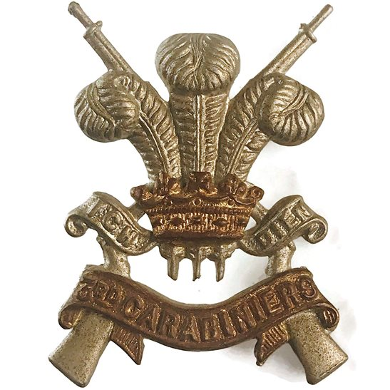3rd Carabiniers 3rd Carabiniers Regiment Collar Badge
