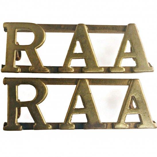 WW2 Australian Army Royal Australian Artillery RAA Australia Shoulder Title PAIR