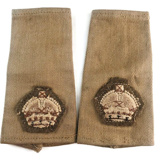 WW2 British Army Officers CLOTH Epaulette Insignia Crown Pips - Rank of Major Set PAIR
