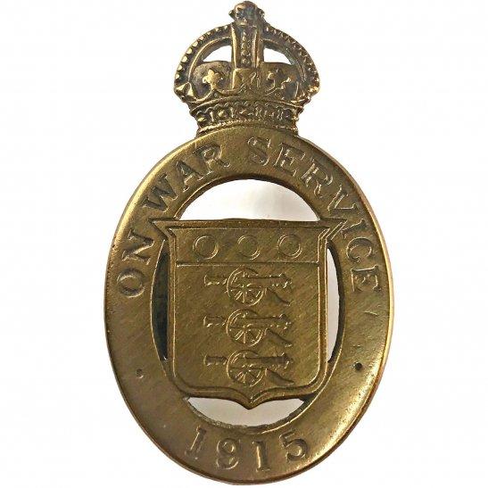 WW1 On War Service 1915 Lapel Badge - DG COLLINS NEWGATE ST LONDON