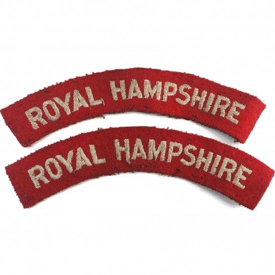 Hampshire Regiment Royal Hampshire Regiment Cloth Shoulder Title Badge Flash PAIR