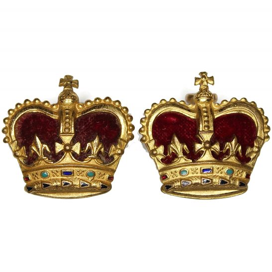 Post 1953 British Army Officers Insignia Crown Pips PAIR - Rank of Major (Queens Crown)