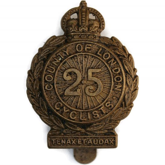 Army Cyclist Corps WW1 25th County of London Cyclist Battalion Army Corps (Cyclists) Cap Badge