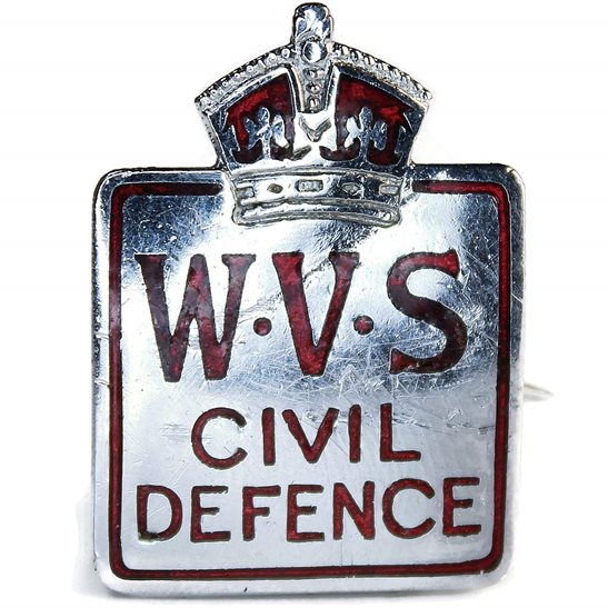 WW2 Womens Voluntary Service Civil Defence WVS Women's Lapel Badge