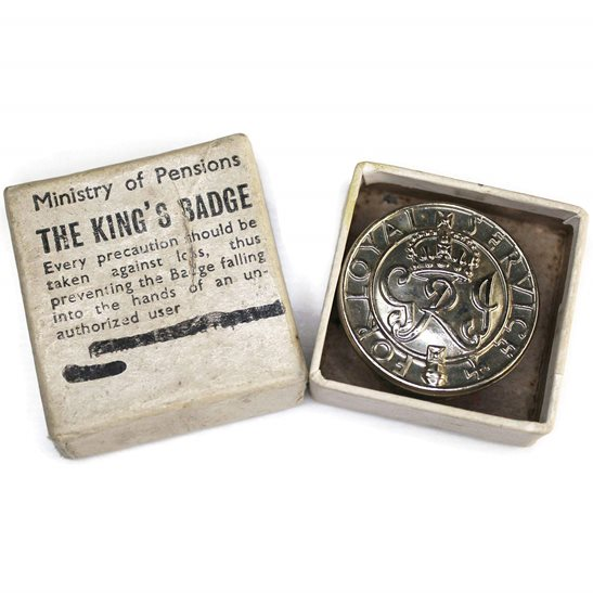 WW2 Kings For Loyal Service Silver War Wound King's Lapel Badge & Box
