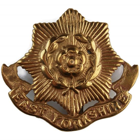 East Yorkshire WW1 East Yorkshire Regiment 1916 Economy Issue ALL BRASS Cap Badge