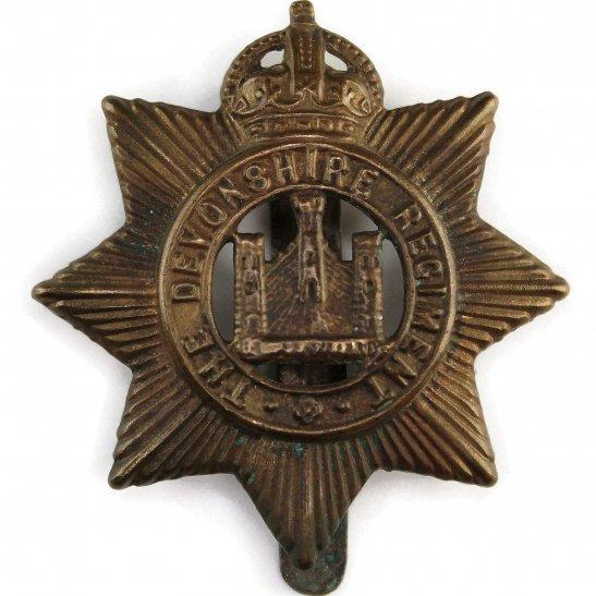 Devonshire Regiment WW1 Devonshire Regiment ALL BRASS 1916 Economy Issue Cap Badge