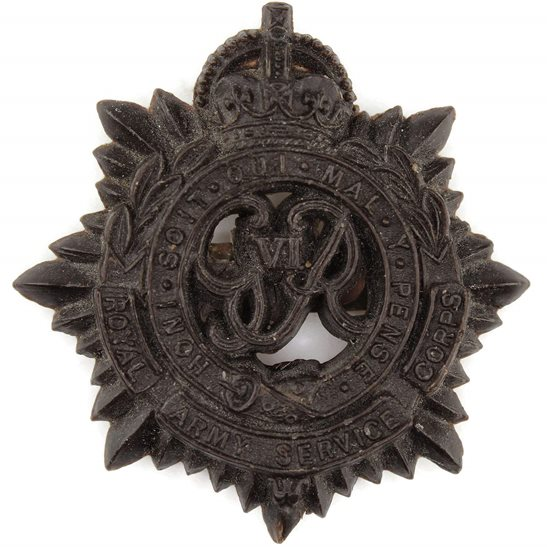 Royal Army Service Corps RASC WW2 Royal Army Service Corps RASC PLASTIC Economy Issue Cap Badge