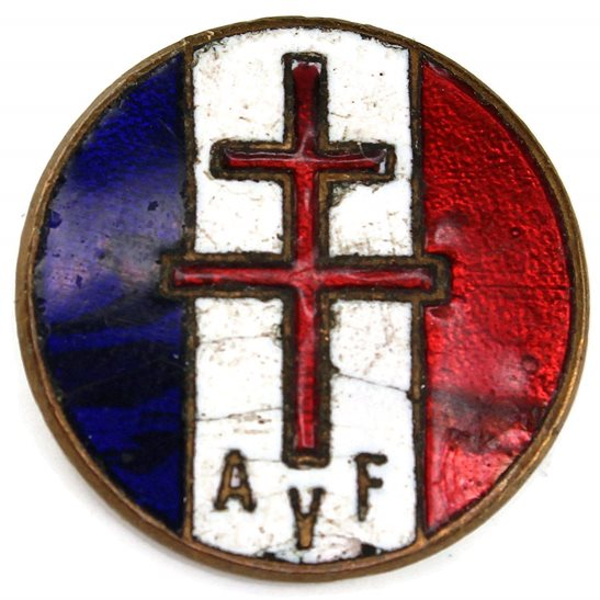 WW2 French Army WW2 Free French (Cross of Lorraine) Libre Lapel Badge