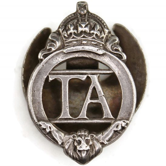 Territorial Battalions British Territorial Army Forces Silver Lapel Badge