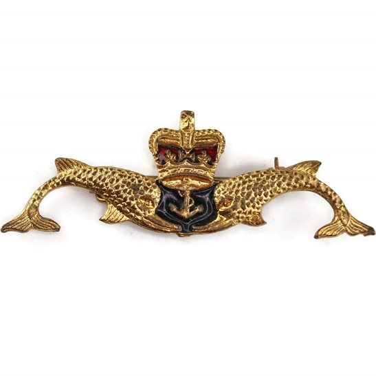 Royal Navy Queens Crown Royal Navy Submarine Naval Submariners Qualification Lapel Badge