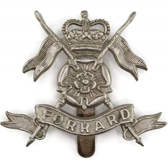 Yorkshire Dragoons Queens Own Yorkshire Yeomanry Regiment Cap Badge - Queen's Crown - J.R. GAUNT LONDON