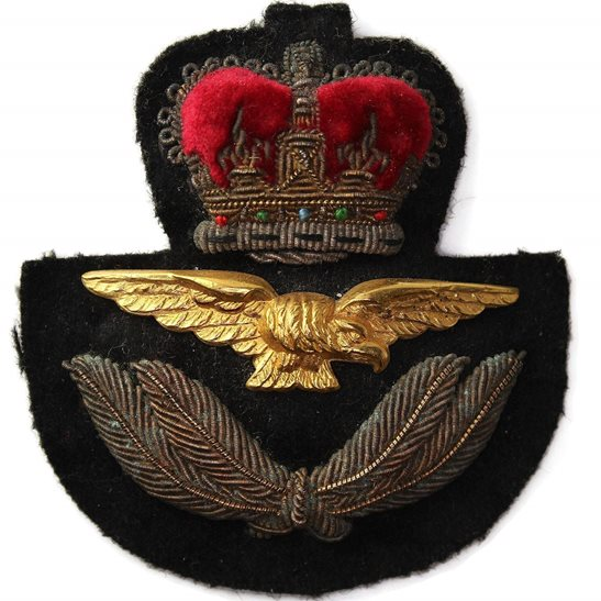 Royal Air Force RAF Royal Air Force RAF OFFICERS Cloth Bullion Cap Badge - Queens Crown