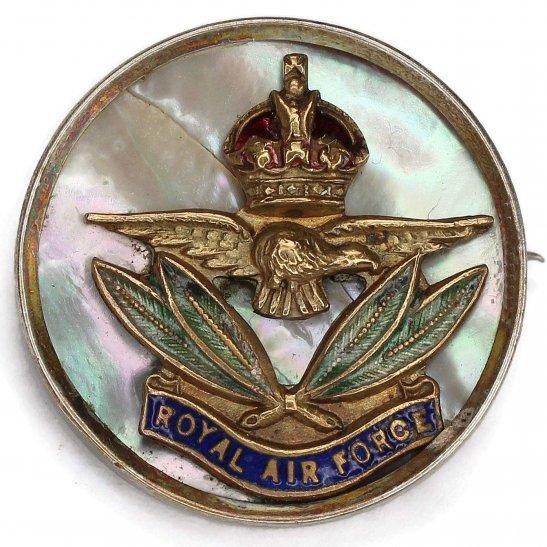 Royal Air Force RAF WW2 Royal Air Force RAF Wings SILVER and Enamel Sweetheart Brooch