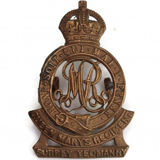 Surrey Yeomanry WW1 Surrey Yeomanry (Queen Marys) Regiment Cap Badge