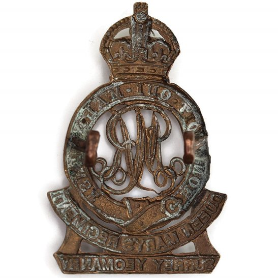 additional image for WW1 Surrey Yeomanry (Queen Marys) Regiment Cap Badge