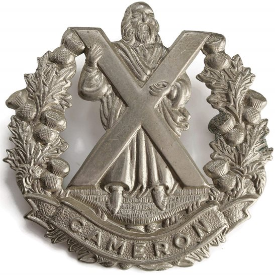 Cameron Highlanders WW2 Queens Own Cameron Highlanders Regiment Cap Badge