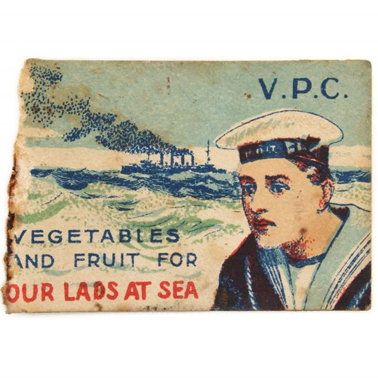 WW1 Royal Navy Sailors Vegetables and Fruit Flag Day Fundraising Pin Badge