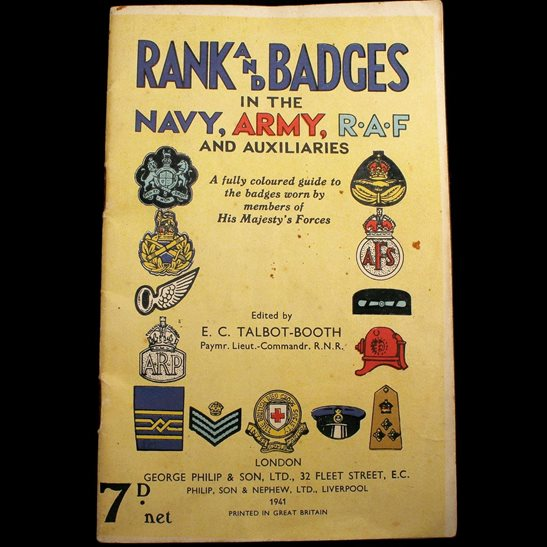 WW2 1941 Colour Illustrated Booklet Rank and Badges in the Navy, Army, RAF Book