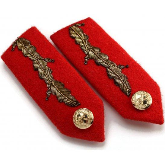 British Generals Rank Anodised Insignia Red Tab STAYBRITE Collar Gorget PAIR - Staybright
