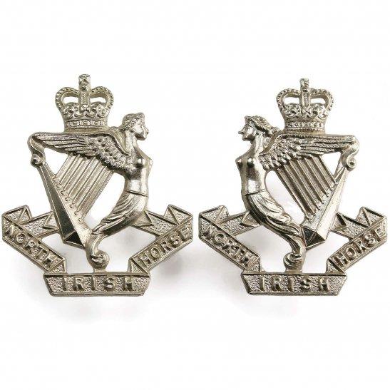 North Irish Horse North Irish Horse Regiment Metal Collar Badge PAIR - Queens Crown
