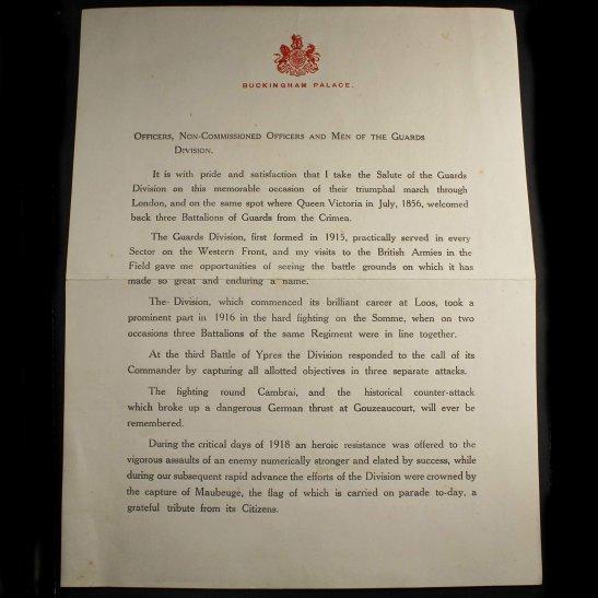 Grenadier Guards WW1 Buckingham Palace, Guards Division 1919 Letter - Grenadier, Coldstream, Scots, Irish, Welsh