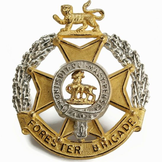 Forester Brigade Regiment Metal OFFICERS Gilt & Silver METAL Cap Badge - J.R. GAUNT LONDON
