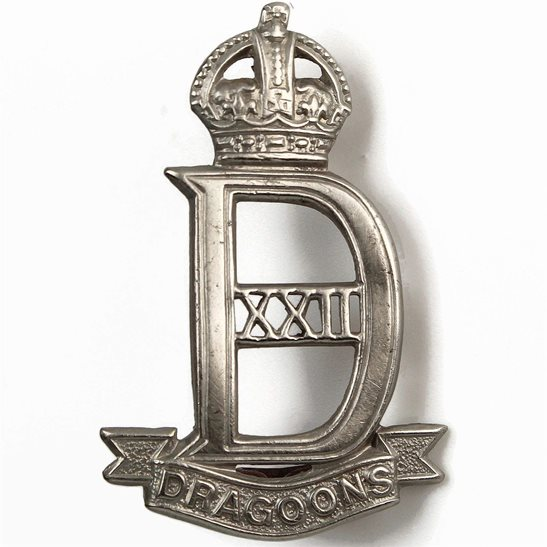 22nd Dragoons WW2 WAR RAISED 22nd Dragoons Regiment Cap Badge