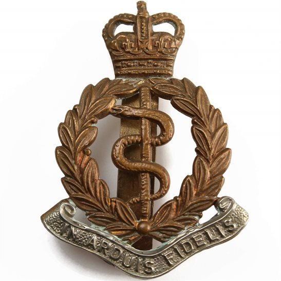 Royal Army Medical Corps RAMC Royal Army Medical Corps RAMC Cap Badge - Queens Crown